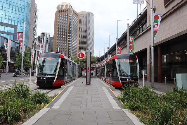 Sydney Light Rail Alstom Citadis X05 2237 & 2220 at Circular Quay on an L3 & L2, respectively