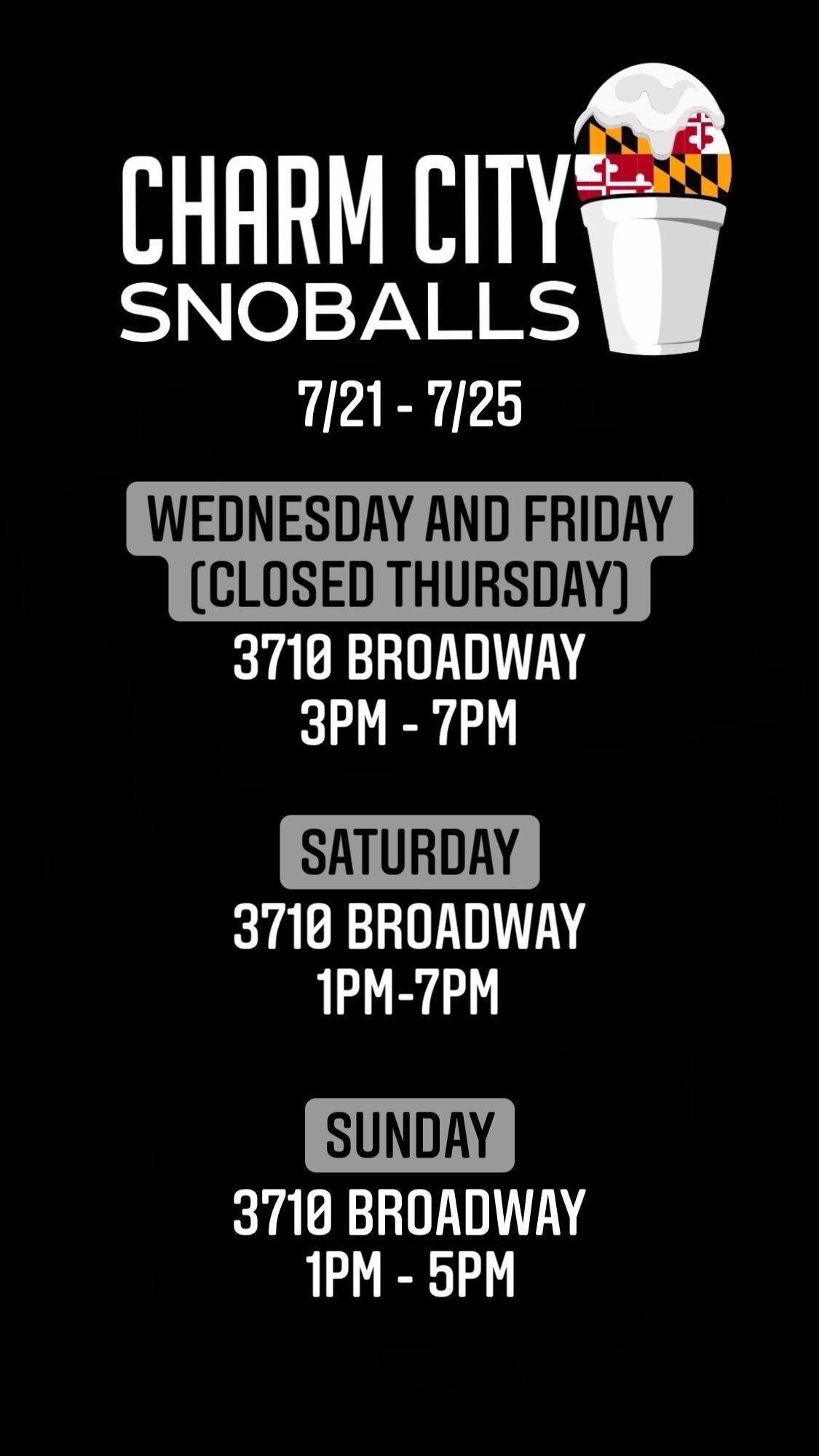This Weeks's Hours and Locations