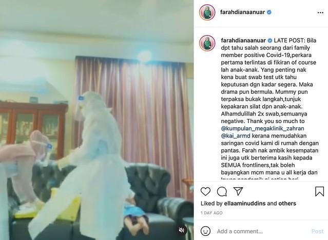 Farah Diana Bersyukur Sudah Tamat Kuarantin Setelah Ada Ahli Keluarga Positif Covid-19