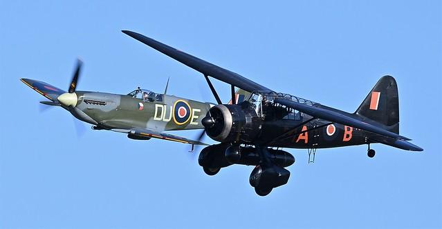 RAF Westland Lysander V9367 G-AZWT Nickname the Lizzie RCAF s/n 2355   & RAF Supermarine Spitfire LF Mk-VC AR501 G-AWII DU-E