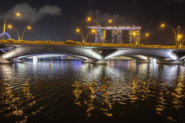 Dancing Reflections of Esplanade Bridge and Marina Bay Sands