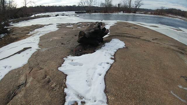 From the rocks that form the James River rapids, which froze during Jan of 2018.