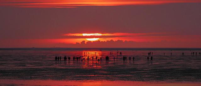 Sunset on the North Sea coast