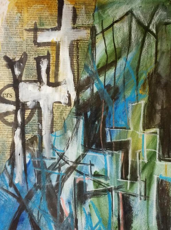 St Marys Church mixed media piece by Gillian Hebblewhite