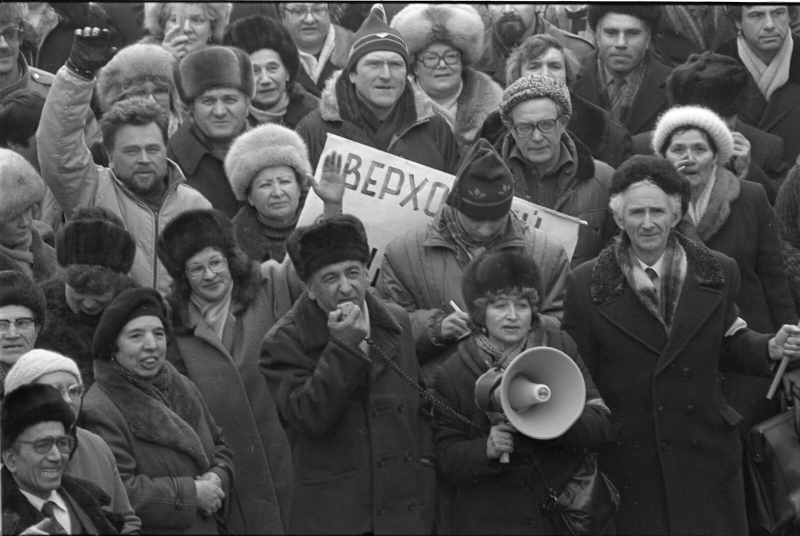 1990. Марш на Садовом кольце, (в центре - Тельман Гдлян), 4 февраля