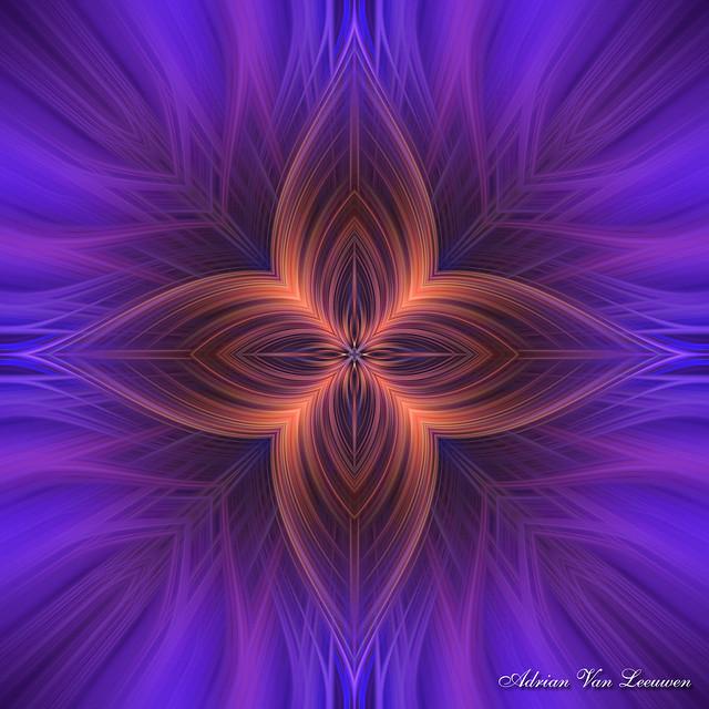 Purple and Orange Fantasy Star Fractal Art