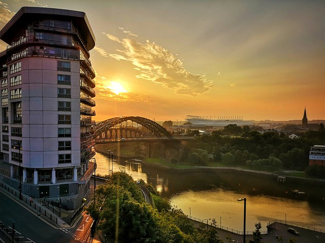 Sunset over the river Wear