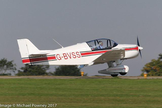 G-BVSS - 1999 build Jodel D150 Mascaret, arriving on Runway 03L at Sywell during the 2017 LAA Rally