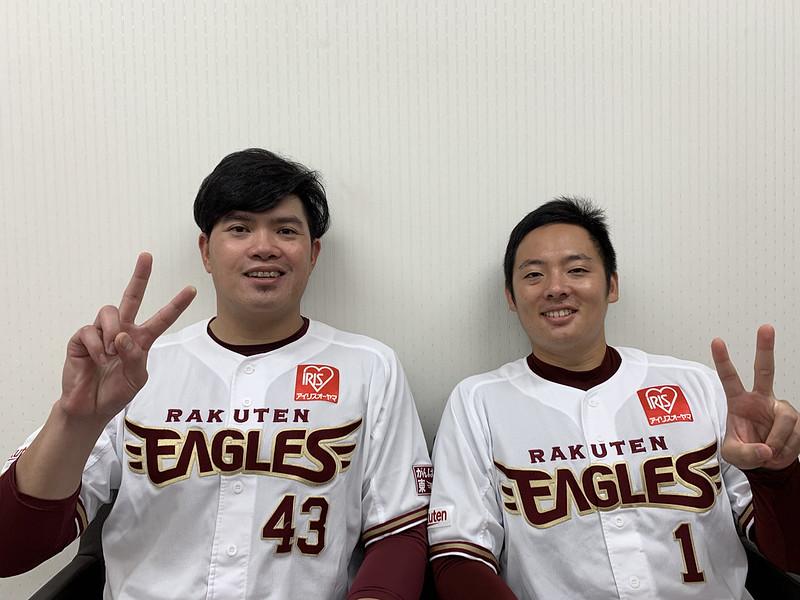 宋家豪(左)與松井裕樹(右)。(東北樂天金鷲提供)