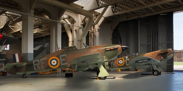 Hawker/CanCar Hurricane XIIa, Supermarine Spitfire Vb - Historic Aircraft Collection, Duxford, England