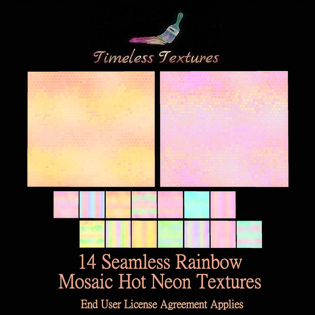 TT 14 Seamless Rainbow Mosaic Hot Neon Timeless Textures