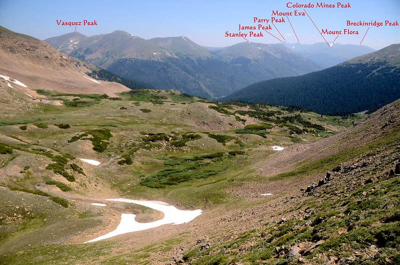 View to the northeast from Butler Gulch Trail near 12,165'