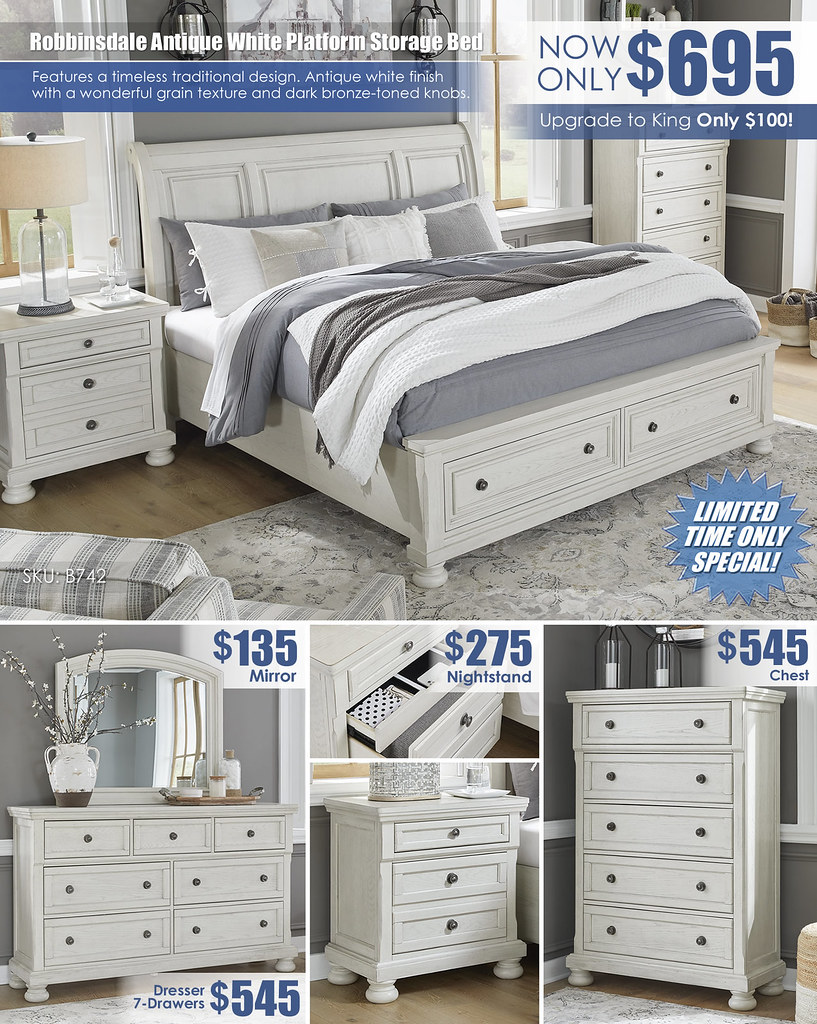 Robbinsdale Antique White Storage Queen Sleigh Bed Special_Layout_B742_July2021