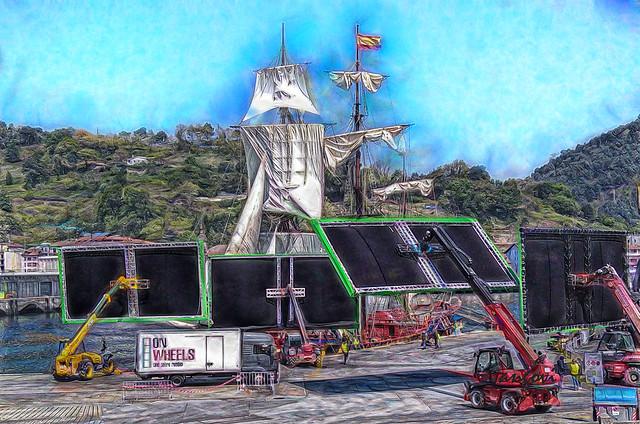 Rodando pelicula en el puerto