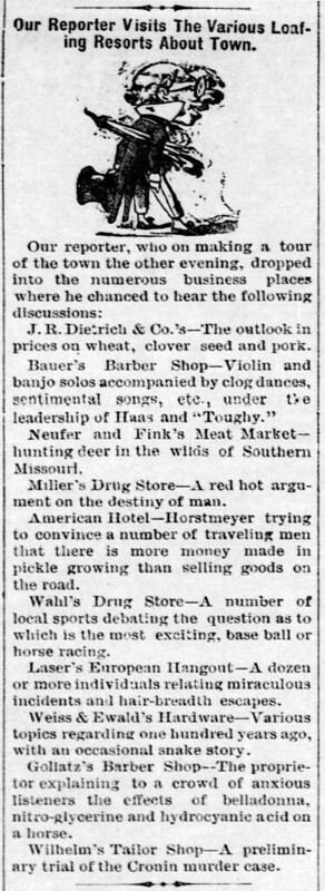 1889 - humorous loafer discussion at businesses - Enquirer - 29 Nov 1889
