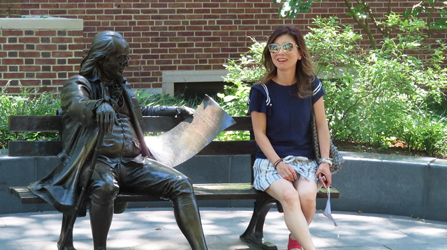 Ben Franklin introduces newspapers to a new Penn  student.
