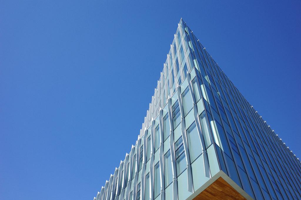 Corner under clear blue sky