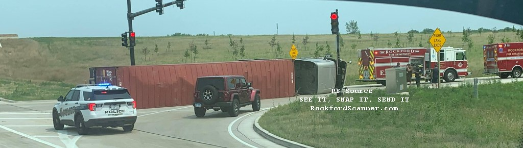 Semi Rollover on S Main and Bypass 20 on July 20th 2021. Photo Credit: Alex Hrdz