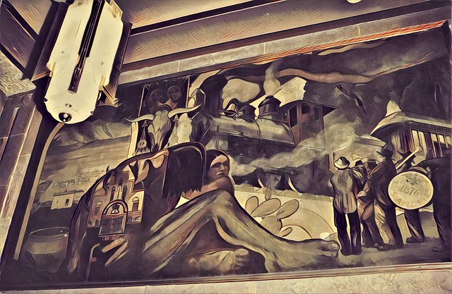 Los Angeles California ~ Los Angeles Central Library ~ Mural -  35mm