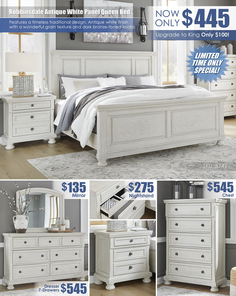 Robbinsdale Antique White Panel Queen Bed Special_Layout_B742_July2021
