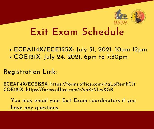 Exit Exams - ECEA114X/ECE125X and COE121X