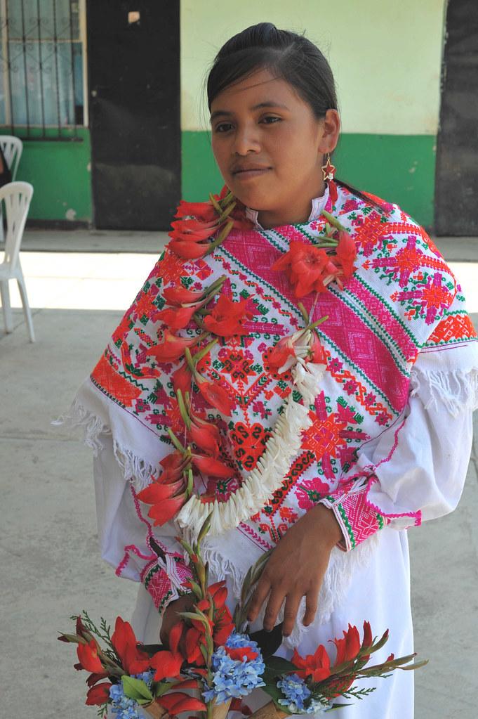 Nahua Woman Mujer Hidalgo Mexico Flowers
