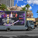 Nevada USA 03-10-18 Award-winning Prince Tribute Show Purple Reign is advertised on the Las Vegas Strip on beautifully designed mobile billboards