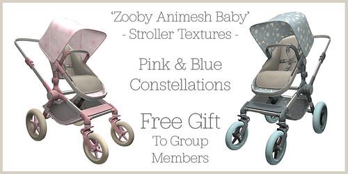 Laminak - Bebe - FREE GROUP GIFT - Zooby Animesh Baby Stroller Textures