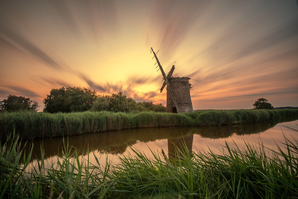 A long exposure of Brograve Mill on the norfolk broads