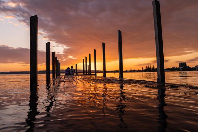 Sunset and flood