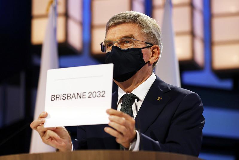 國際奧會主席Thomas Bach宣布2032年奧運主辦城市。(達志影像)