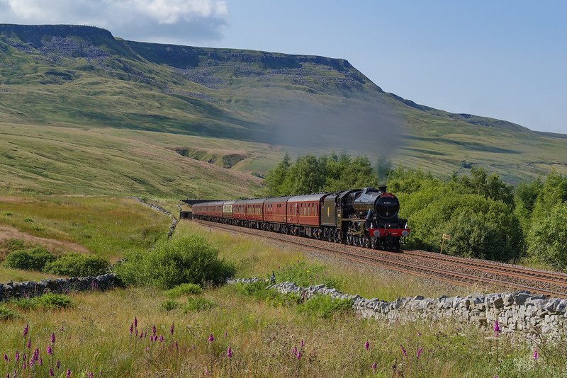 Looking super smart in it's BR Black livery LMS Jubilee 45690 'Leander' charges towards Aisgill Summit at Milepost 260 hauling the southbound 'Pendal Dalesman' on July 20th 2021.