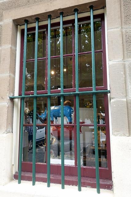 Blue rhino behind bars