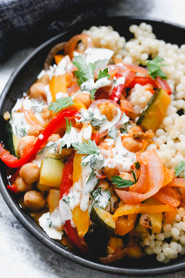Stewed Chickpeas with Peppers, Zucchini, and Israeli Couscous
