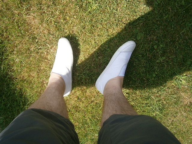Hot day again - another shorts and white slip-on plimsolls day