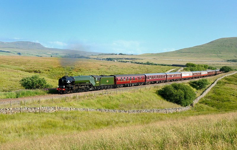 The third of the 3 West Coast Rly jobs on 20/7/2021 was the Viking Venturer with 60163 Tornado, seen on the single line section at Blea Moor on the S+C Copyright David Price No unauthorised use