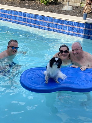 Oliver, TBo, Carrie, and I Enjoying the Pool