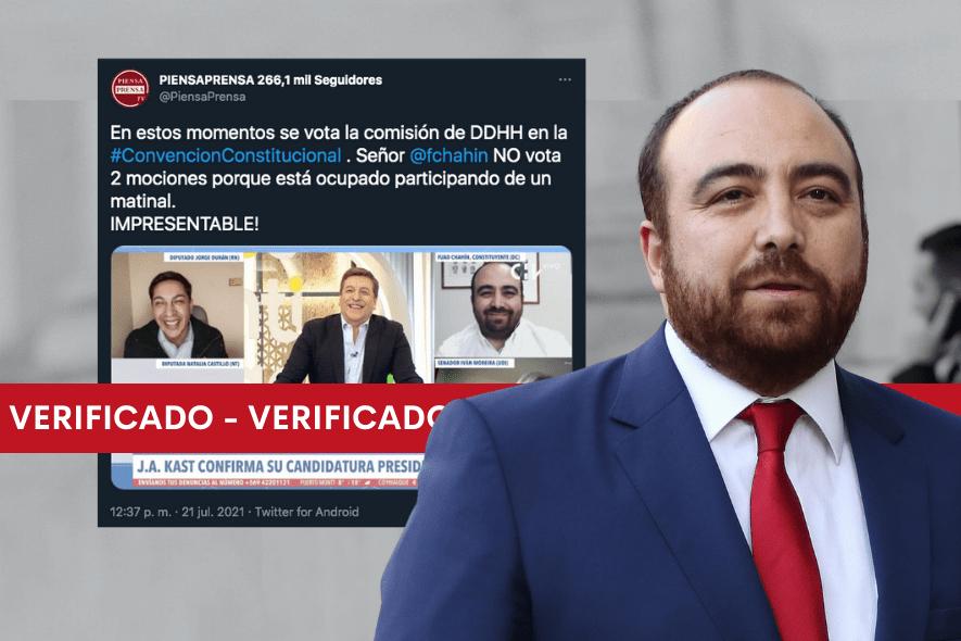 Es real que Fuad Chahin no votó algunas de las mociones de la Convención por estar participando en el matinal de Chilevisión
