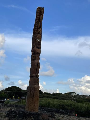 One of the 16 foot wooden pillars at Ke Kāhua O Kāneiolouma. From History Comes Alive in Poipu, Kauai