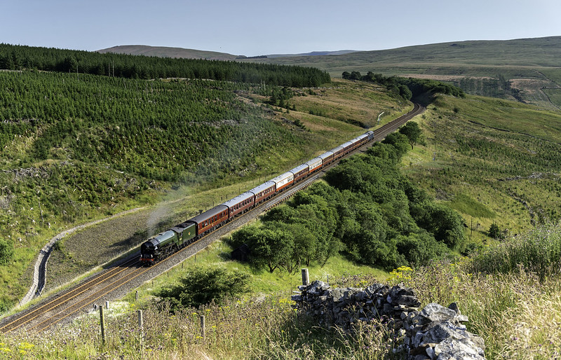 LNER A1 Pacific 60163 'Tornado' climbs through Dent Dale towards Rise Hill tunnel working 1Z65 14.55 York - Linlithgow 'The Viking Venturer' on 20.07.2021