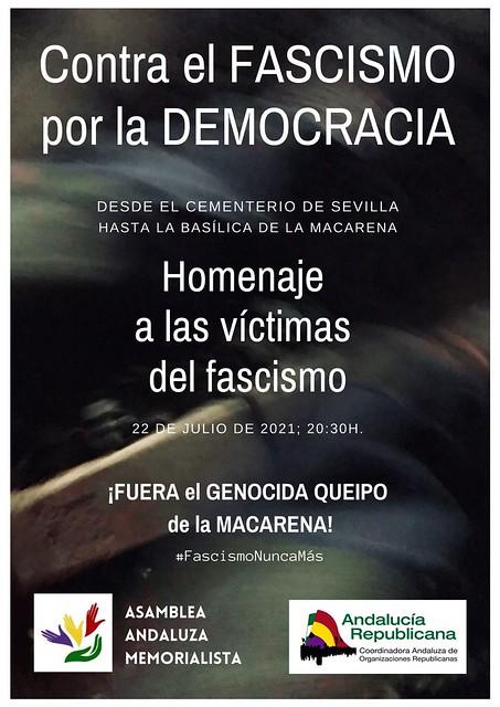 Cartel Marcha para exigir la salida de Queipo de la Macarena