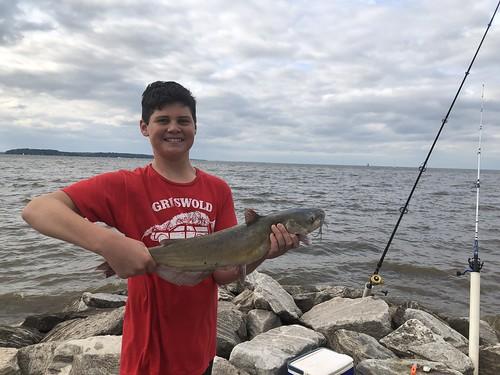 Photo of boy holding channel catfish