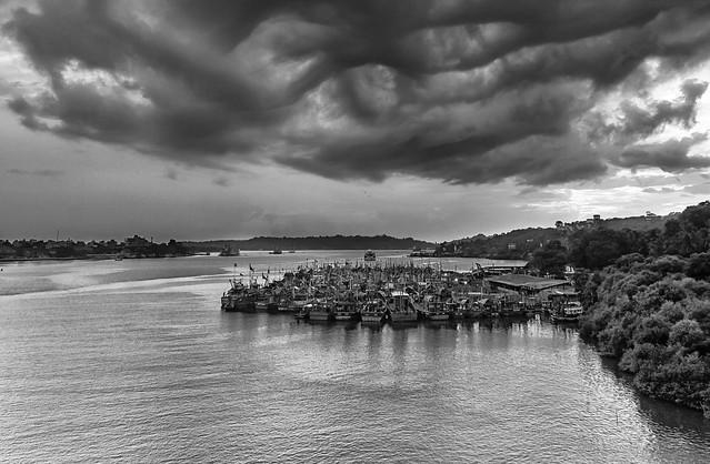 June Goa Monsoon clouds over river Mandovi