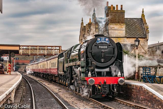 70000 Brittania - leaving Wansford