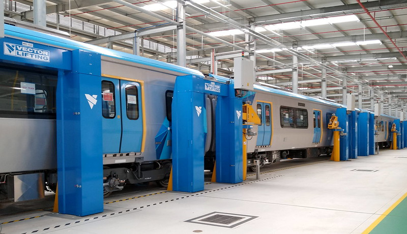 Lifts for Evolution (HCMT) train at Pakenham East depot/TMF