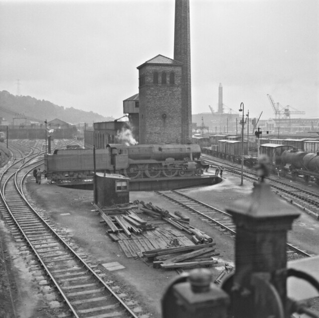 A tempting tableau of turntable, tower, tracks and trains.