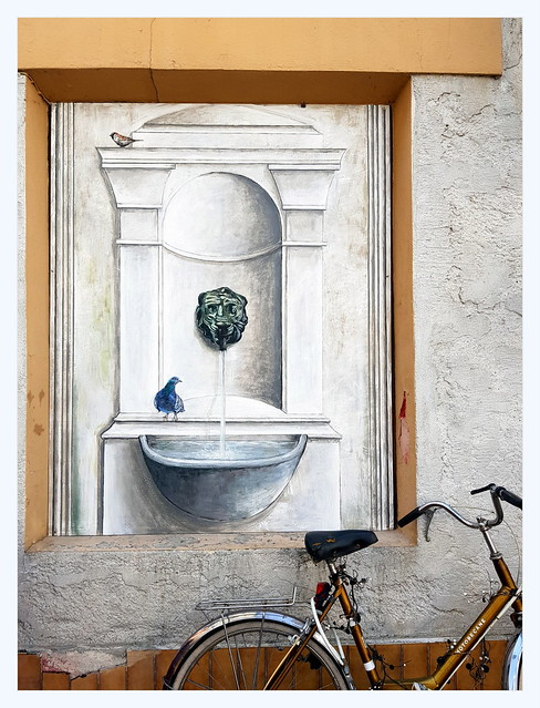 birds, bike, fountain