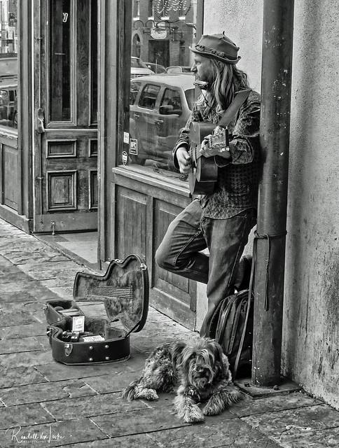 Street Musician & Dog, Sixth Street, Austin, Texas
