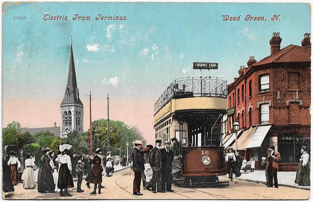 MET tram No. 16 @ Wood Green - RPPC sent 1907