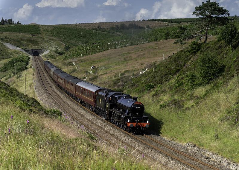 LMS 5XP Jubilee 45690 'Leander' is seen at Dodderham Moss working 1Z54 15.24 Carlisle - Lancaster 'The Pendle Dalesman' on 20.07.2021